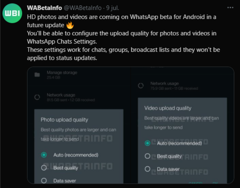 WhatsApp se alista para enviar imágenes y videos en alta calidad